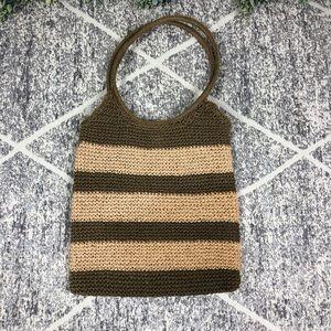 Straw Woven Shoulder Bag Purse, Stripes